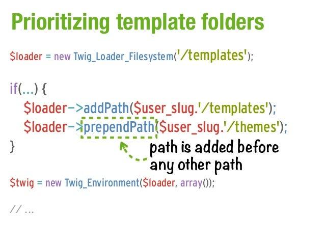 Prioritizing template folders$loader = new Twig_Loader_Filesystem(/templates);if(...) {   $loader->addPath($user_slug./tem...