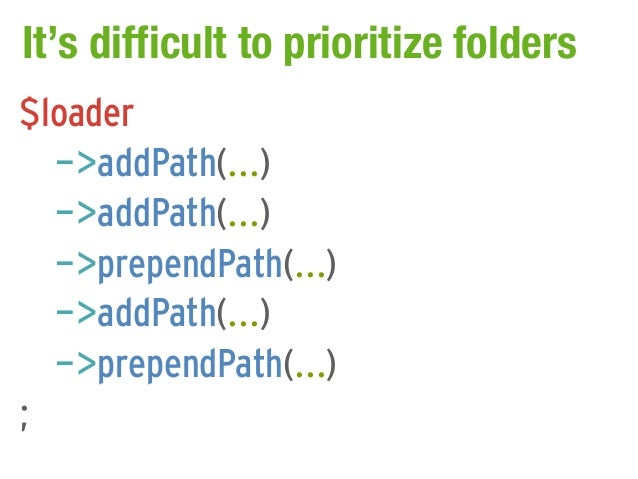 It's difficult to prioritize folders$loader  ->addPath(...)  ->addPath(...)  ->prependPath(...)  ->addPath(...)  ->prepend...