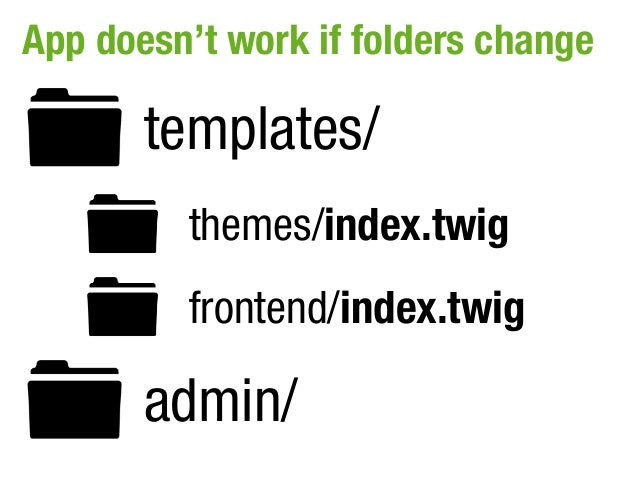 App doesn't work if folders change       templates/         themes/index.twig         frontend/index.twig       admin/