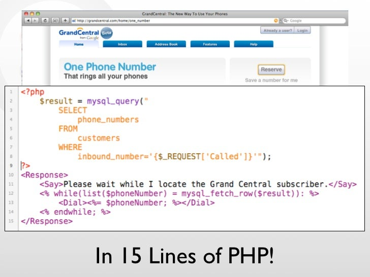 Next Grand Central     In 15 Lines of PHP!