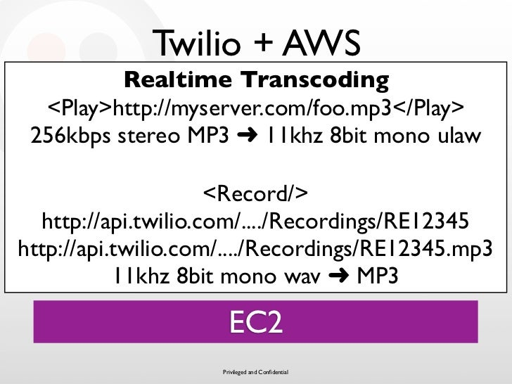 Twilio + AWS           Realtime Transcoding   <Play>http://myserver.com/foo.mp3</Play>  256kbps stereo MP3 ➜ 11khz 8bit mo...