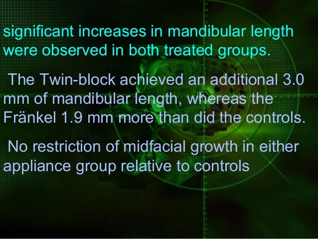 Results indicated that mandibular growth in the treatment group was on average 4.2 mm greater than in the control group ov...