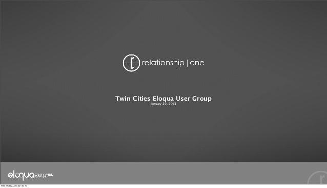 Twin Cities Eloqua User Group                                      January 29, 2013Wednesday, January 30, 13