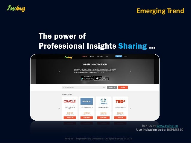 Emerging Trend  Join us at www.twing.co Use invitation code: BSPMSS10 Twing.co – Proprietary and Confidential - All rights...