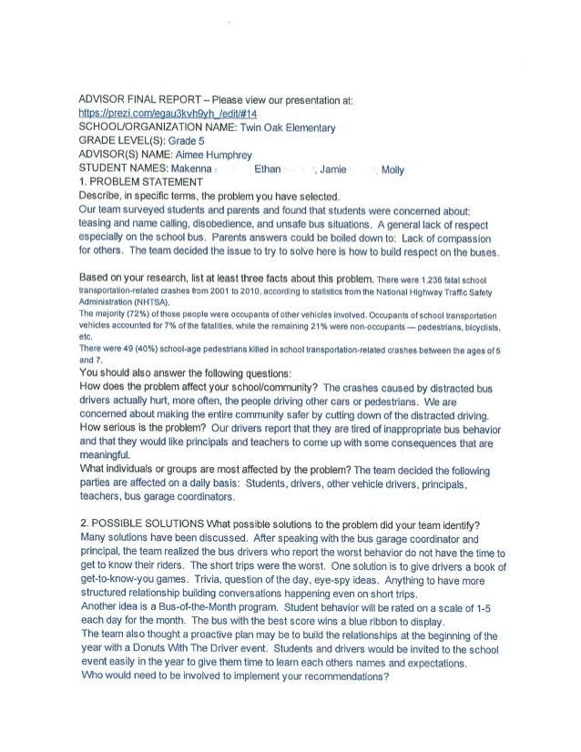 ADVISOR FINAL REPORT - Please view our presentation at:   httpszllprezicontlegau3kvhgyh / edit1#14  SCHOOUORGANIZATION NAM...