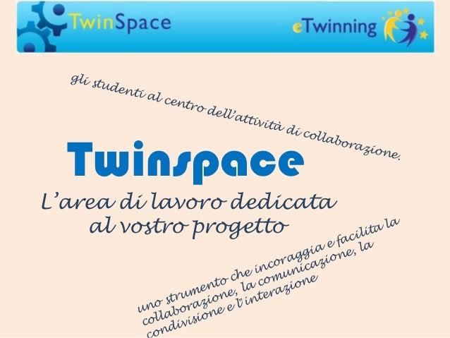 Twinspace L'area di lavoro dedicata al vostro progetto uno strumento che incoraggia e facilita la collaborazione, la comun...
