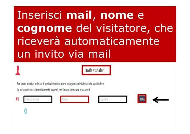 Inserisci mail, nome e cognome del visitatore, che riceverà automaticamente un invito via mail