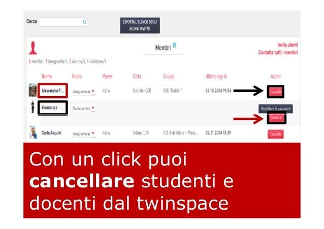 Con un click puoi cancellare studenti e docenti dal twinspace