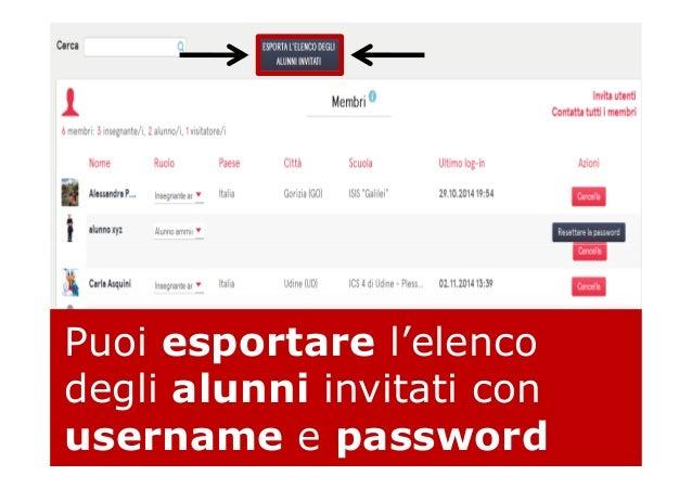 Puoi esportare l'elenco degli alunni invitati con username e password