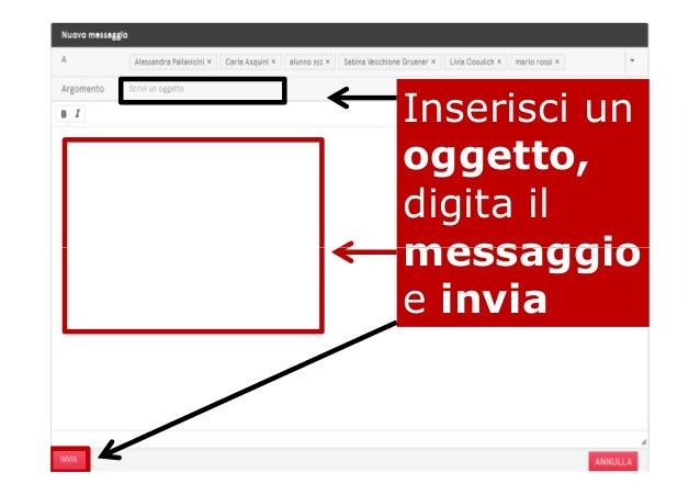 Inserisci un oggetto, digita il messaggiomessaggio e invia