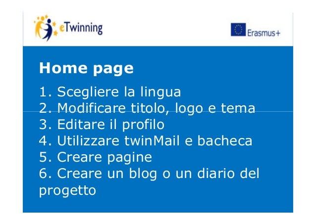 Home page 1. Scegliere la lingua 2. Modificare titolo, logo e tema2. Modificare titolo, logo e tema 3. Editare il profilo ...