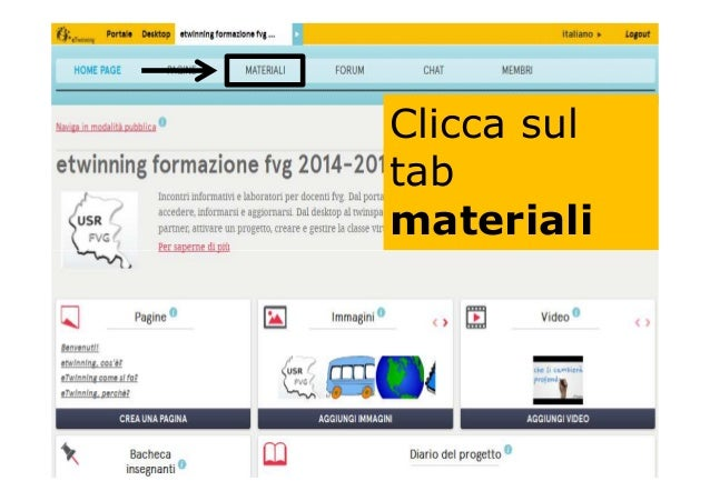 Clicca sul tab materiali