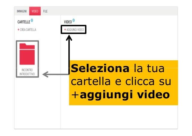 Seleziona la tuaSeleziona la tua cartella e clicca su +aggiungi video