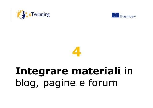 44 Integrare materiali in blog, pagine e forum