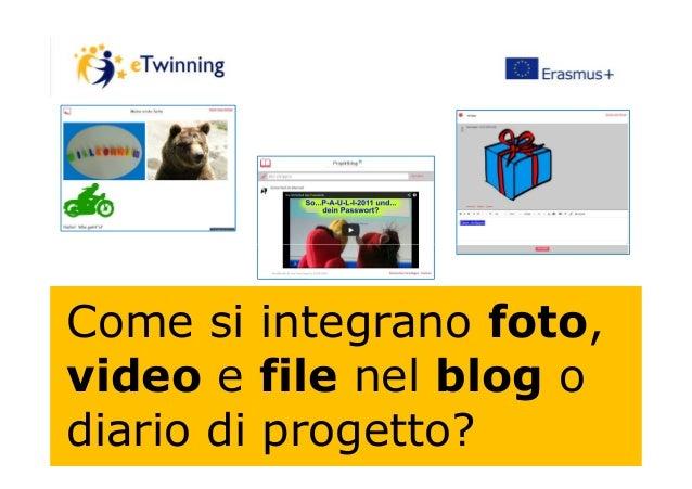 Come si integrano foto, video e file nel blog o diario di progetto?