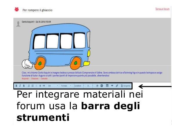 Per integrare materiali nei forum usa la barra degli strumenti