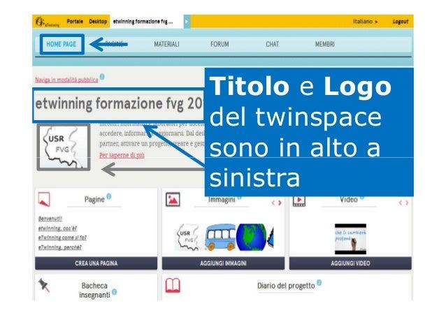 Titolo e Logo del twinspace sono in alto asono in alto a sinistra
