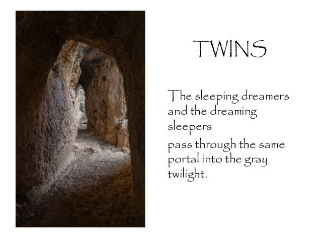 TWINS The sleeping dreamers and the dreaming sleepers pass through the same portal into the gray twilight.