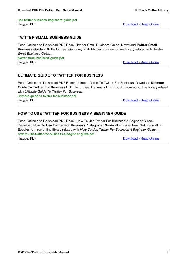 Twitter User Guide Pdf