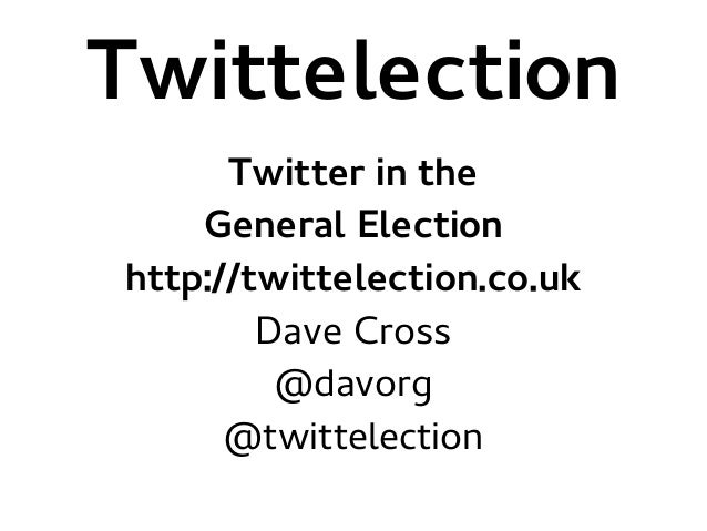 Twittelection Twitter in the General Election http://twittelection.co.uk Dave Cross @davorg @twittelection