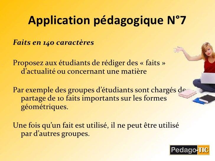 Application pédagogique N°7<br />Faits en 140 caractères<br />Proposez aux étudiants de rédiger des «faits» d'actualité ...