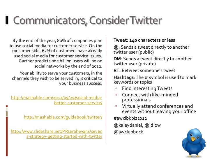 Communicators, Consider Twitter  By the end of the year, 80% of companies plan       Tweet: 140 characters or lessto use s...