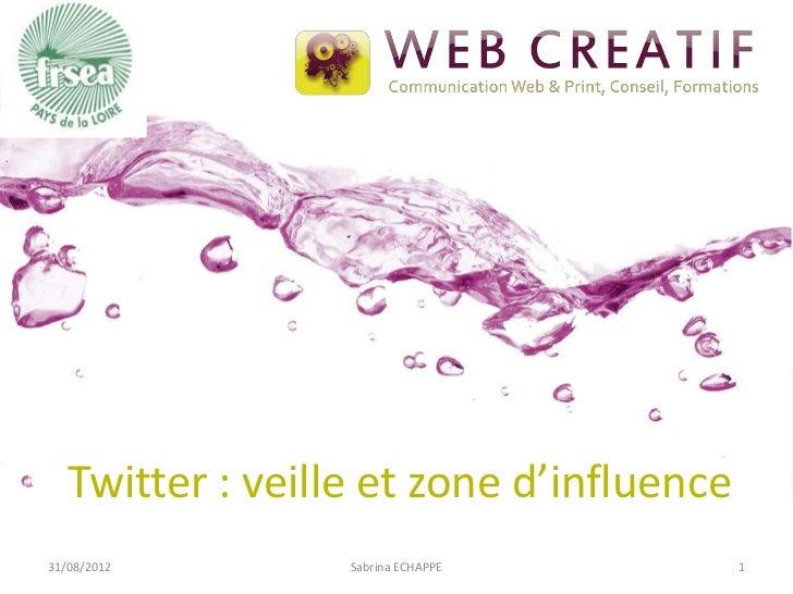 Twitter : veille et zone d'influence31/08/2012        Sabrina ECHAPPE         1