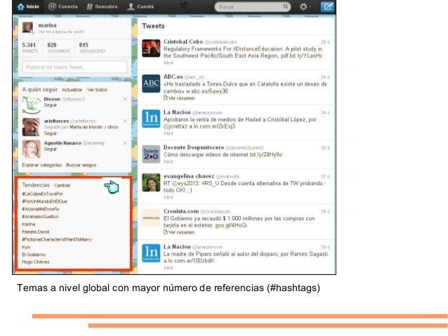 Temas a nivel global con mayor número de referencias (#hashtags)