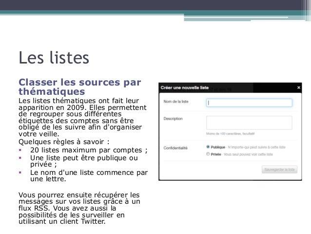 Les listes  Classer les sources par  thématiques  Les listes thématiques ont fait leur  apparition en 2009. Elles permette...