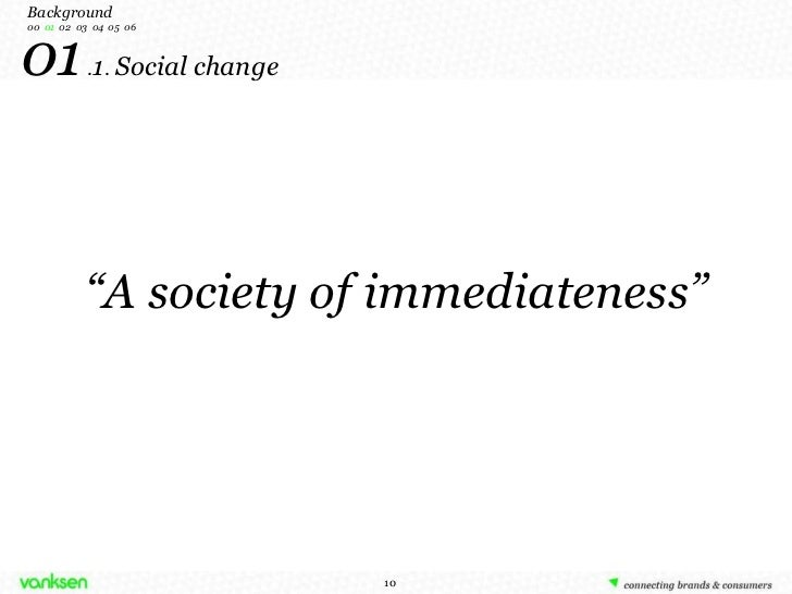 """ A society of immediateness"" 01  . 1 .  Social change Background 00   01   02  03  04  05  06"