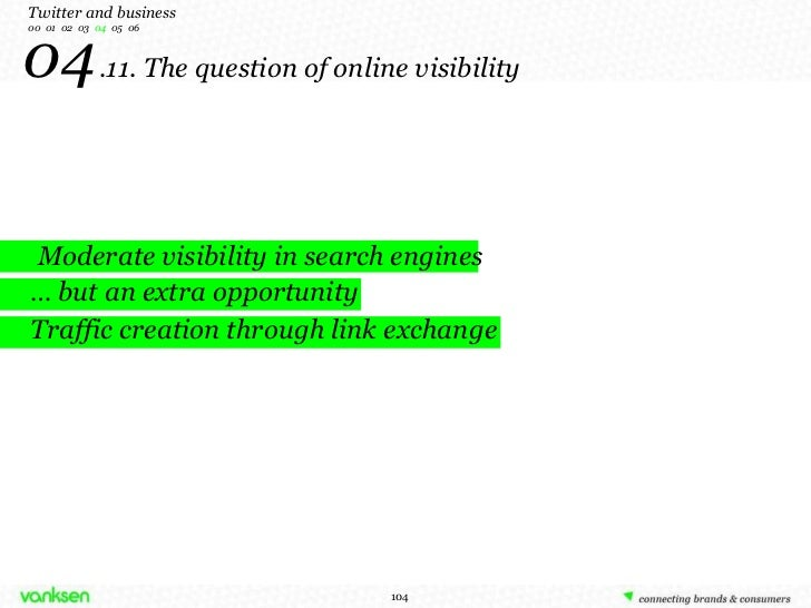 04   .11. The question of online visibility Moderate visibility in search engines …  but an extra opportunity Traffic crea...