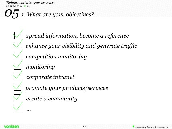 05   .1. What are your objectives? Twitter: optimize your presence 00  01  02  03  04  05  06 spread information, become a...