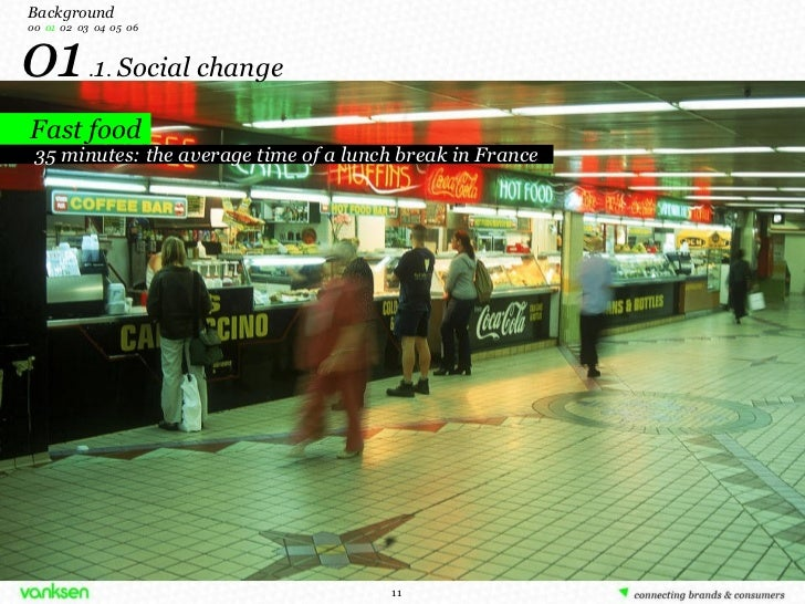 01  . 1 .  Social change Background 00   01   02  03  04  05  06 Fast food 35 minutes: the average time of a lunch break i...
