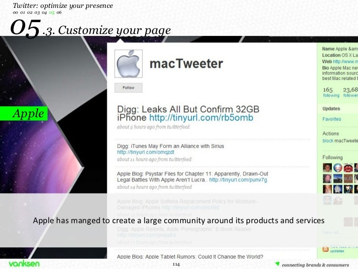 05   .3. Customize your page Apple Twitter: optimize your presence 00  01  02  03  04  05   06 Apple has manged to create ...