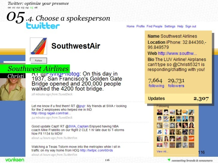 05   .4. Choose a spokesperson Twitter: optimize your presence 00  01  02  03  04  05   06 Christi Southwest Airlines