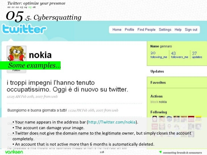 05   .5. Cybersquatting Some examples… Twitter: optimize your presence 00  01  02  03  04  05   06 <ul><ul><li>▪  Your nam...