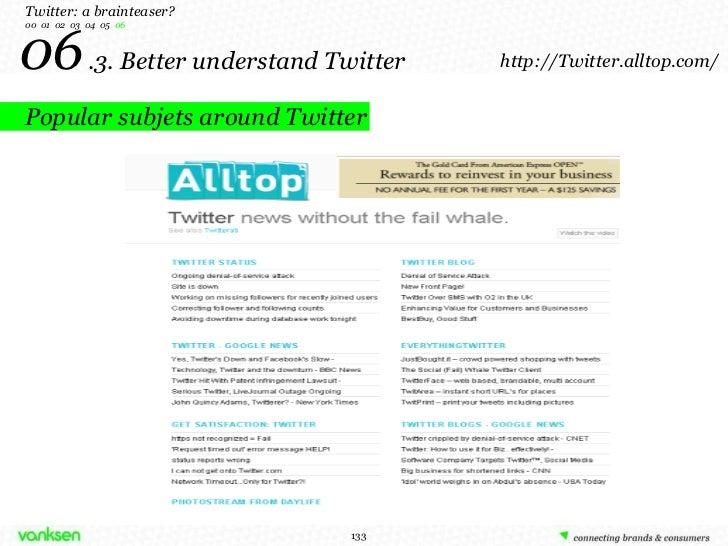 06   .3. Better understand Twitter Twitter: a brainteaser? 00  01  02  03  04  05  06 Popular subjets around Twitter http:...
