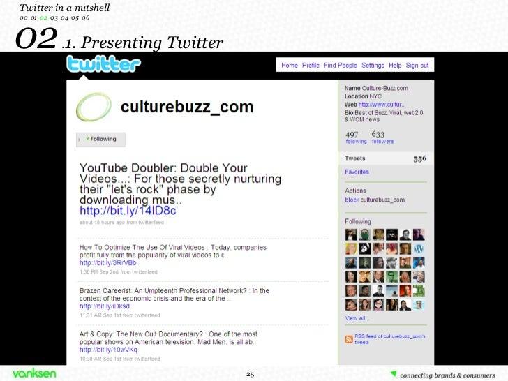 02  . 1. Presenting Twitter Twitter in a nutshell 00  01  02   03  04  05  06