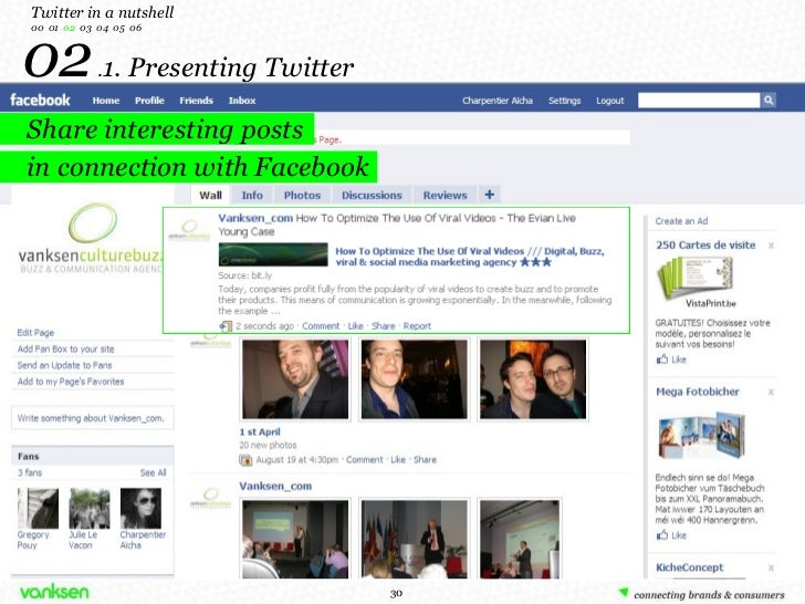 02  . 1. Presenting Twitter Twitter in a nutshell 00  01  02   03  04  05  06 Share interesting posts in connection with F...