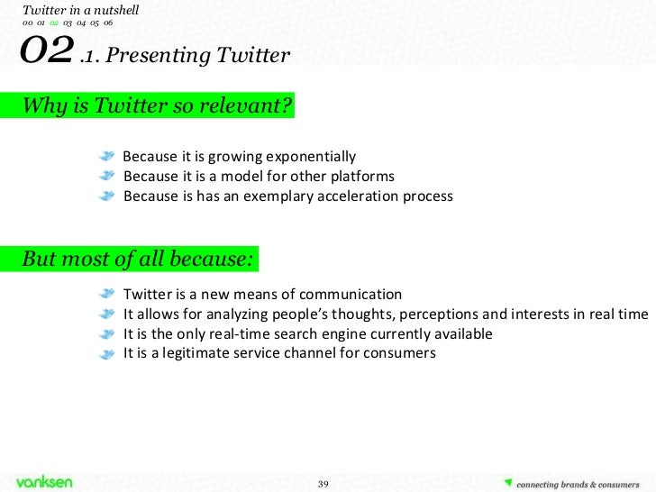 02   .1. Presenting Twitter Twitter in a nutshell 00  01  02  03  04  05  06 Because it is growing exponentially Because i...