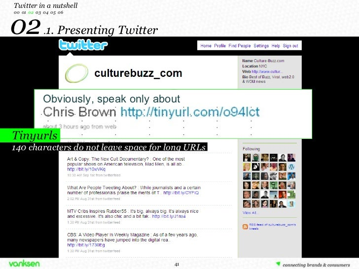 02  . 1. Presenting Twitter Twitter in a nutshell 00  01  02   03  04  05  06 Tinyurls 140 characters do not leave space f...