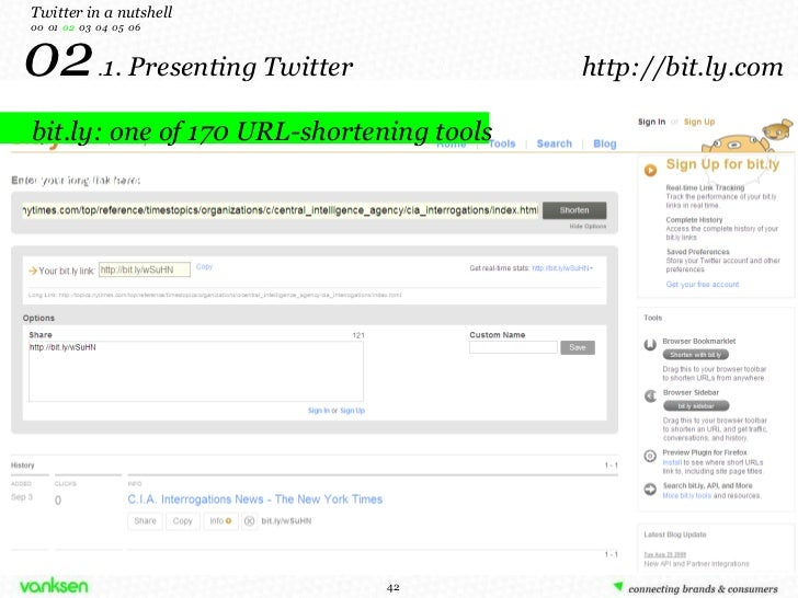 bit.ly: one of 170 URL-shortening tools 02  . 1. Presenting Twitter  http://bit.ly.com Twitter in a nutshell 00  01  02   ...