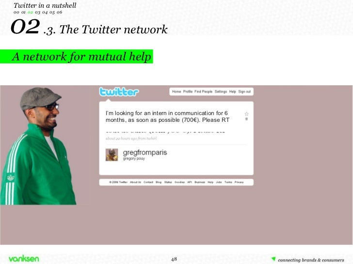 02  .3. The Twitter network Twitter in a nutshell 00  01  02   03  04  05  06 A network for mutual help I'm looking for an...