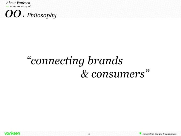 """"""" connecting brands & consumers"""" 00 .1.  Philosophy About Vanksen 00  01  02  03  04  05  06"""