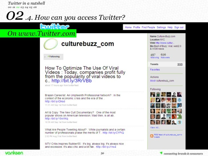 02   .4. How can you access Twitter? Twitter in a nutshell 00  01  02   03  04  05  06 On www.Twitter.com