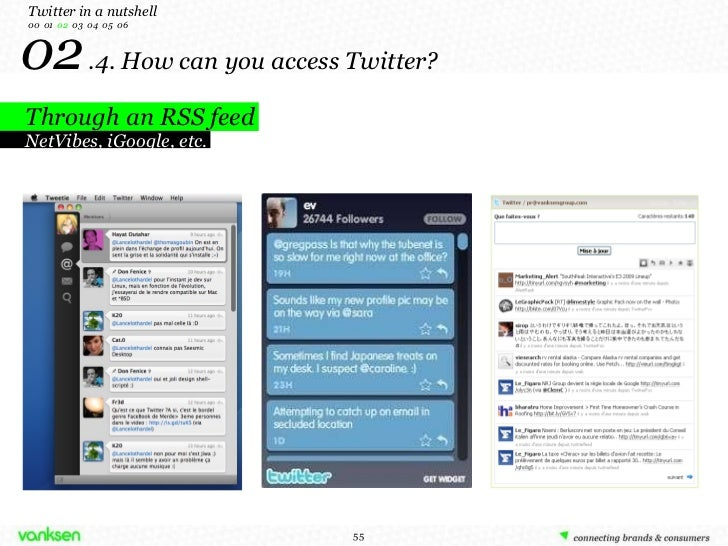 02   .4. How can you access Twitter? Through an RSS feed Twitter in a nutshell 00  01  02   03  04  05  06 NetVibes, iGoog...