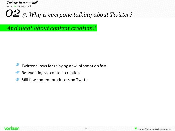 02   .7. Why is everyone talking about Twitter? And what about content creation? Twitter in a nutshell 00  01  02   03  04...