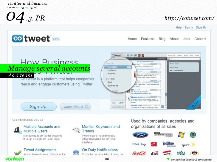 04   .3. PR Manage several accounts Twitter and business 00  01  02  03  04   05  06 As a team http://cotweet.com/