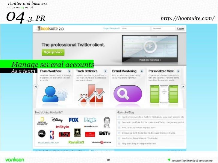 04   .3. PR Manage several accounts Twitter and business 01  02  03  04   05  06 As a team http://hootsuite.com/