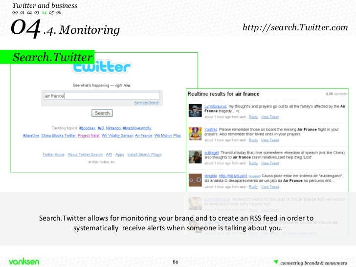 04   .4. Monitoring Twitter and business 00  01  02  03  04   05  06 Search.Twitter allows for monitoring your brand and t...